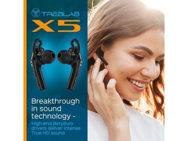 Refurbished: TREBLAB X5 - High-End Bluetooth Earbuds w/Beryllium Speakers - True HD Sound, Deep Bass, Best Sports Running Truly Wireless Headphones, Noise Cancelling Mic Microphone, Waterproof IPX4 | 2019 Upgrade