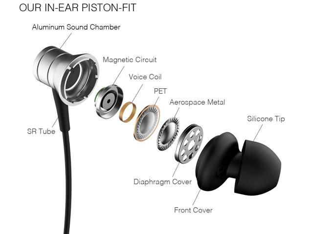 1MORE Piston Fit In Ear Headphones Wired Earphones with Microphone and Remote Control for iPhone Samsung Huawei - E1009  Silver