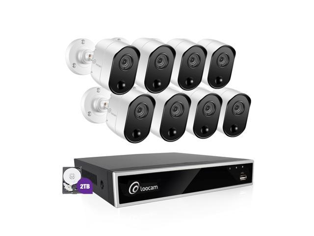 Loocam Security Camera System, 8 Channel 2.0MP CCTV DVR System 2TB Hard Drive and 8x1080P Automatic Night Vision Surveillance Cameras,PIR Motion Sensor, Free iOS,Android App and PC Remote Access