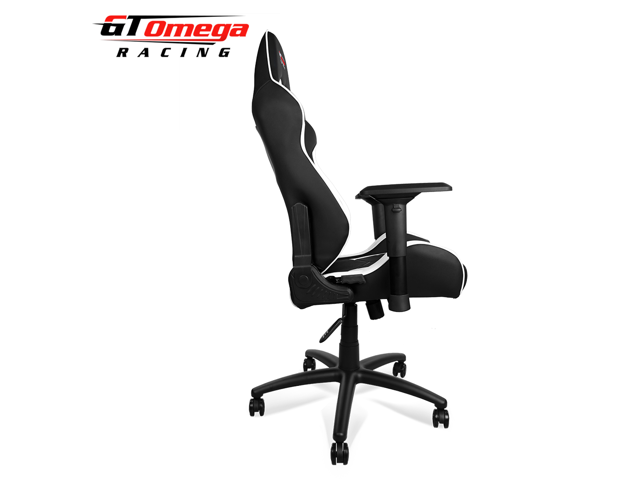 GT Omega ELITE Racing Office Gaming Chair Black And White Leather