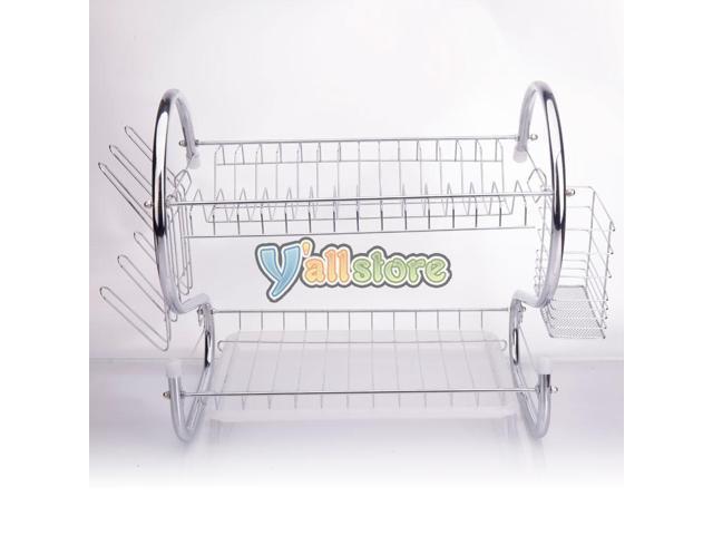 Kitchen Storage Dish Cup 2-Tier Dryer Drying Rack Holder Organizer