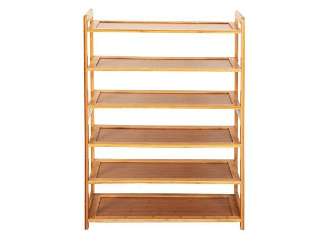 6 Tier Portable Nature Bamboo Shoe Storage Organizer Wardrobe Shoe Rack Shelves