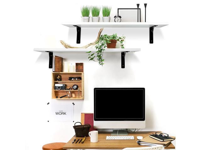 2 Display Ledge Shelf Floating Shelves Wall Mounted Modern Home Decorative White