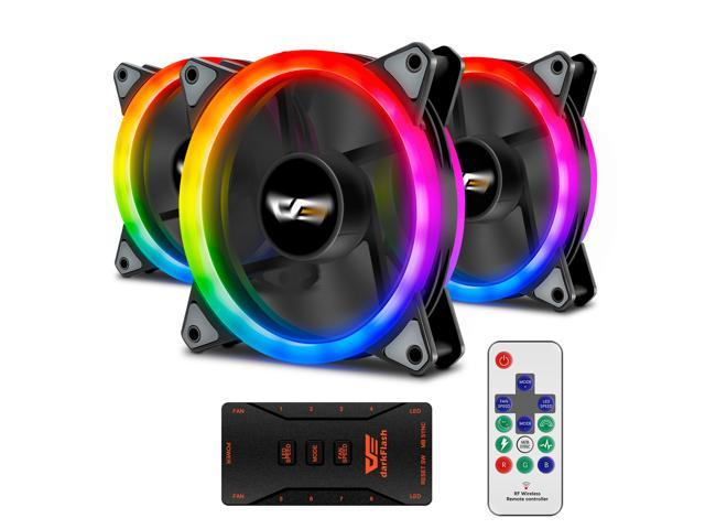 darkFlash Aurora DR12 3IN1 PRO 120mm Addressable RGB LED Case Fan Kit Compatible with ASUS Aura Sync High Performance Speed Controllable Colorful Fans with Controller and Remote