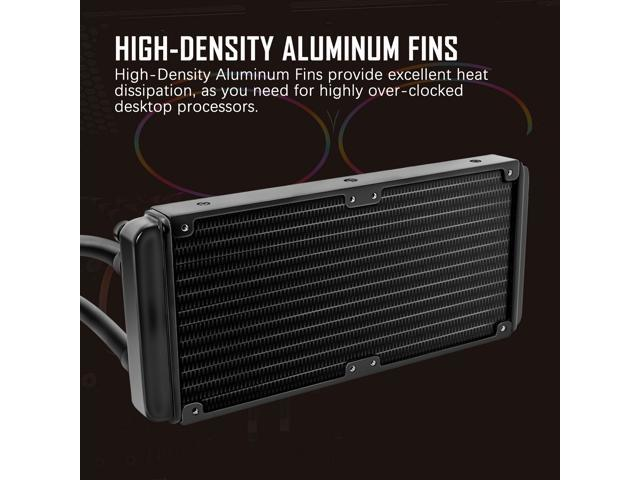 darkFlash DT240 240mm AIO Water Liquid Cooling Cooler Radiator with 120mm LED Rainbow Lighting Case Fan CPU Cooler (w/ 2pcs Rainbow fans)