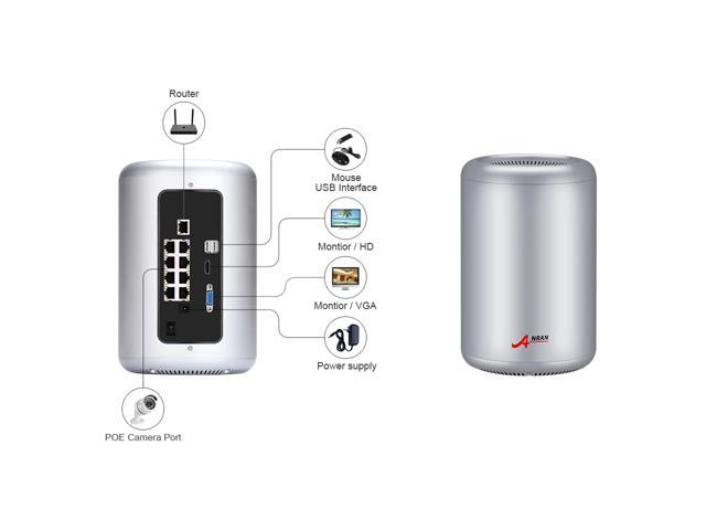 ANRAN 5MP HD POE Cylinder Kit H.265 Waterproof Outdoor Security Camera System 1920P 5 Megapixel Motion Dection Video Surveillance System Build with 2TB HDD