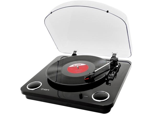 "IONIT54BLK ION Audio Max LP | 3-Speed Belt Drive Turntable with Built-In Speakers & 1/8"" Aux Input (Glossy Piano Black)"