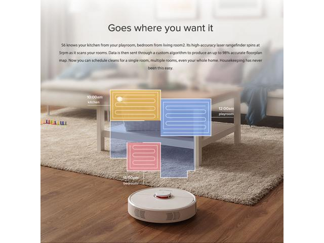 Roborock  S6 Robot Vacuum Cleaner Home Automatic Sweeping Dust Sterilize Smart Planned Washing Mopping White
