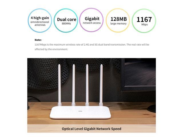 Xiaomi WiFi Router 4A Smart APP Control AC1200 1167Mbps 128MB 2.4GHz & 5GHz Dual-core CPU Gigabit Ethernet Port Wireless Router Repeater with 4 Antennas