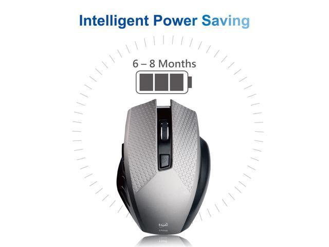 E-books M28 6-Button Ergonomic Optical Wireless Gaming Office Mouse with Adjustable 1000 / 1600 DPI, Low Power Consumption for Mac / Windows - Gray / Black