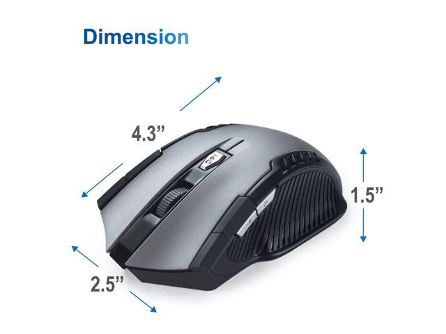 E-books M34 6-Button Ergonomic Optical Wireless Gaming Office Mouse with Adjustable 1000 / 1200 / 1600 DPI, Low Power Consumption for Mac / Windows - Gray / Black