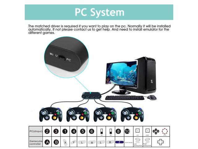 E-NET Gamecube Controller Adapter - [Updated Version] Adapter Converter Wii U, Switch, PC, No Driver Needed USB - 4 Port Gamecube NGC Controller Adapter Multi-Player Games,Easy to Plug(Newest Version)