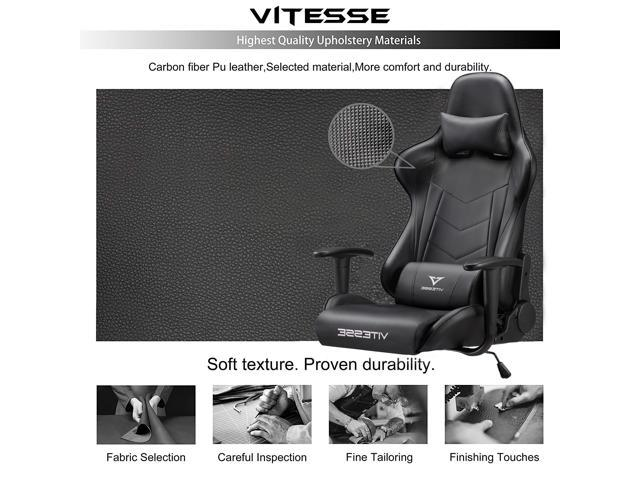 Vitesse Gaming Office Chair with Carbon Fiber Design, High Back Racing Style Seat, Swivel, Lumbar Support and Headrest (Black)