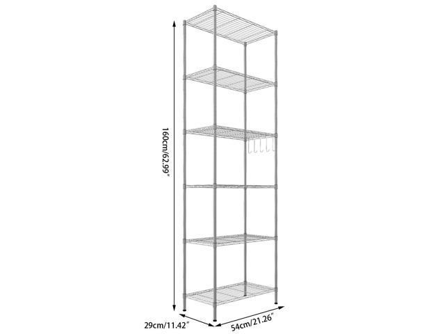 6-Tier Wire Shelving Storage Organizer Rack Adjustable Height w/ Side Hooks