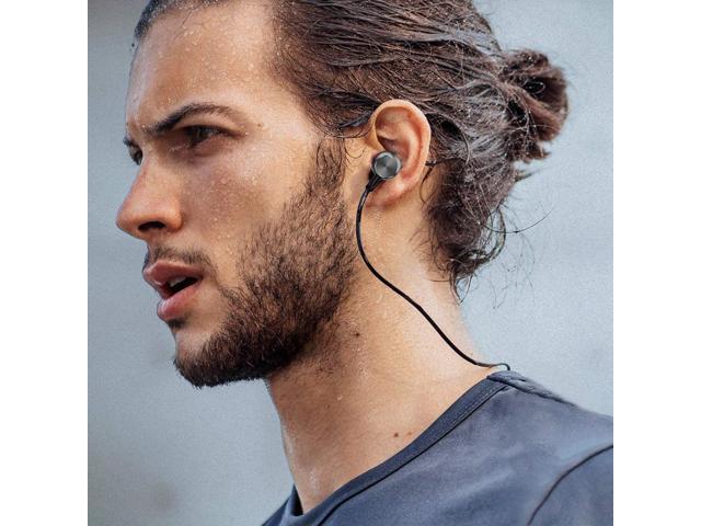 Binaural Wireless Bluetooth Metal Magnetic Stereo Sport Headphones Black