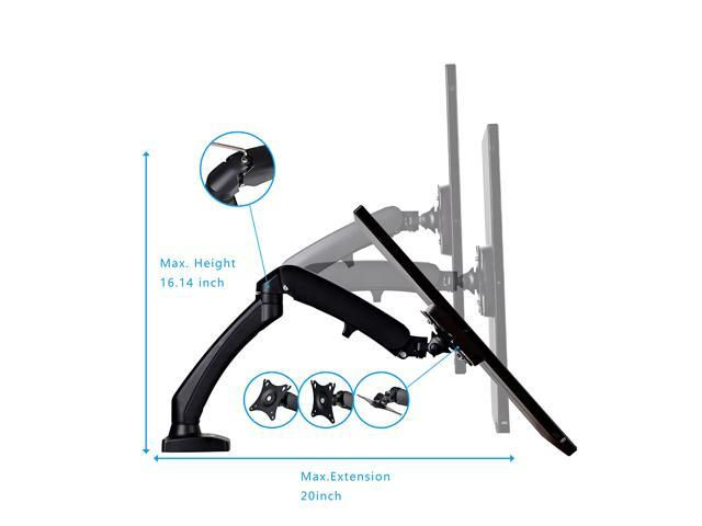 Dual Monitor Stand Adjustable Full Motion swivel gas spring for 10''-27'' LCD Computer vesa Monitor (Dual Arm Desk Mount)