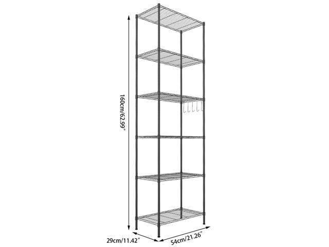 6-Tier Wire Shelving Storage Organizer Rack Adjustable Height w/ Side Hooks