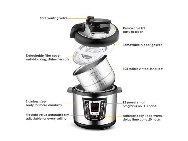 Multifunction Electric Pressure Cooker 6 Litre 8-in-1 Programmable Multi-Cooker with Stainless Steel Inner Pot