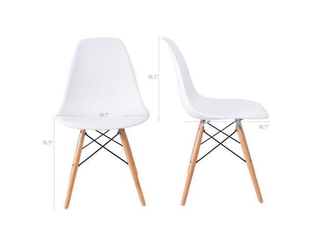 Furmax Pre Assembled Modern Style Dining Chair Pre Assembled White Effiel Modern DSW Chair, Shell Lounge Plastic Chair for Kitchen, Dining, Bedroom, Living Room Side Chairs(Set of 4)