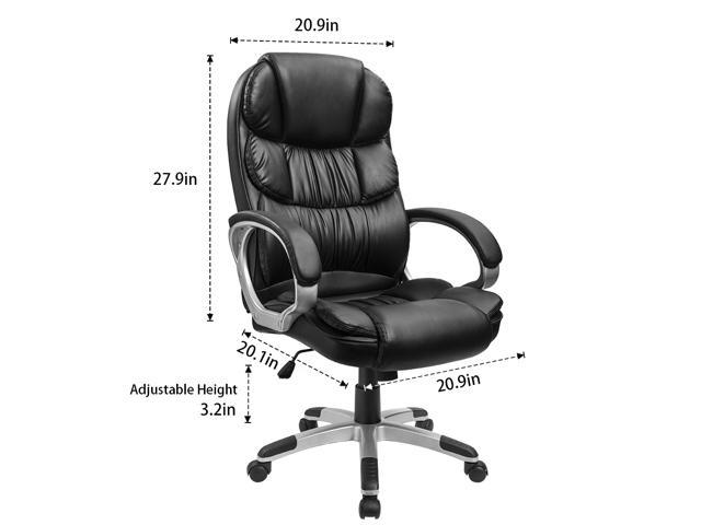 Furmax High Back Office Chair Bonded Leather, Padded Armrests, Adjustable Ergonomic Swivel, and Lumbar Support (Black)