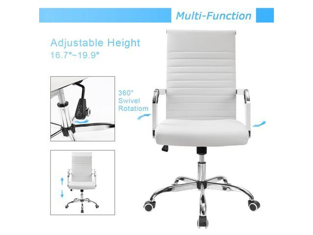 Furmax Ribbed Office Chair Mid-Back PU Leather with Adjustable Height and Swivel (White)
