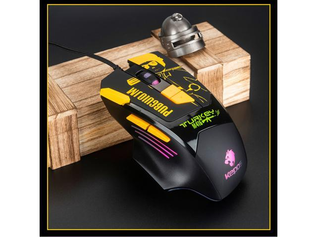 WEIMISEN High Performance Gaming Mouse, Hardware Macros, 8 Customizable Buttons and Onboard Memory, 100% No Risk Ban, Stability Perfect, More Kill's, Lightweight, RGB backlighting,Chicken Dinner Theme