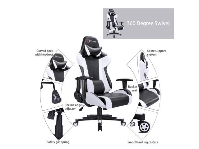 Devoko Ergonomic Gaming Chair Racing Style Adjustable Height High-back PC Computer Chair With Headrest and Lumbar Massage Support Executive Office Chair (White)