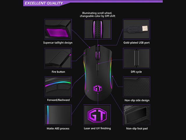 Delux M625 RGB Backlight 12000 DPI 12000 FPS 7 Buttons Optical Wired Gaming Mouse