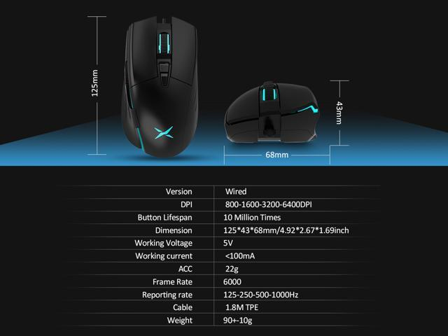 DELUX Wired Gaming Mouse With On-board Memory, 7 Buttons and 4 Adjustable DPI(up to 6400 DPI), Ergonomic Gaming Optical Mouse with Customized Lighting Setting for PC Laptop Computer (M522BU-Black)