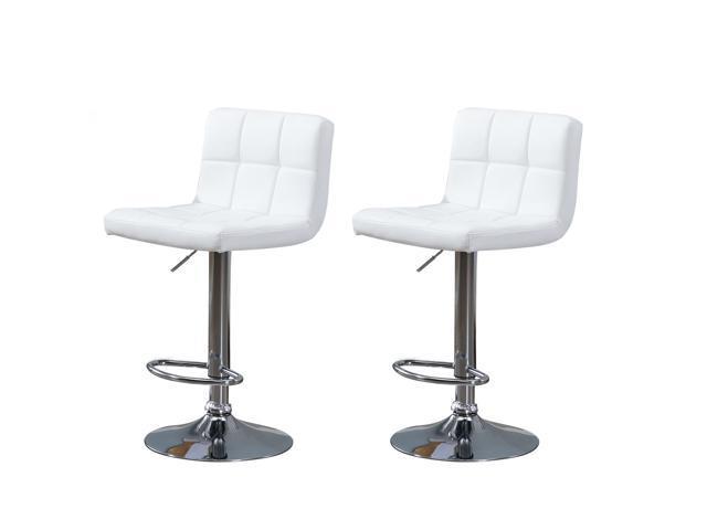 Samincom Set of 2 Simple Modern Style PU Leather Swivel Bar Stools with Back(White)