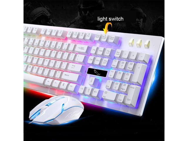 PandaTek Professional Gaming Keyboard and Mouse Combo Wired Multimedia Mechanical Feeling Multi-color LED Suspension Keys - White