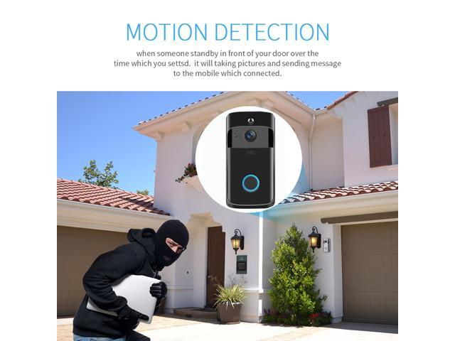 Smart Wifi Video Ring Doorbell, 720P HD Security Camera Real-Time Two-Way Talk/Video, Night Vision, PIR Motion Detection and App Control for IOS and Android