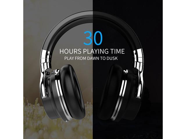 Refurbished: COWIN E7 Active Noise Cancelling Bluetooth Headphones with Microphone Deep Bass Wireless Headphones Over Ear, Comfortable Protein Earpads, 30H Playtime for Travel Work TV PC Cellphone - Black