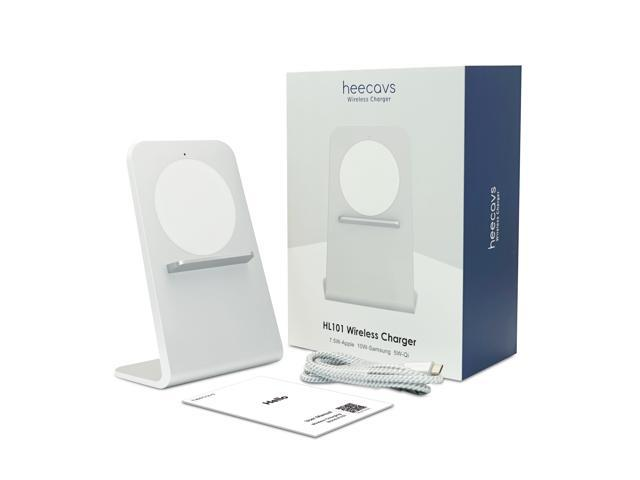 heecavs(2nd Generation) Qi certified Aluminum fast wireless charger stand for 7.5W iPhone X/iPhone 8/8s and for 10W Samsung Galaxy S10/S9/S9 Plus/S8 Plus with QC3.0 Adapter