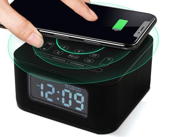 Homtime Wireless Charging Alarm Clock with Radio Bluetooth Speaker for Bedrooms,Wireless Charger for iPhone X,Snooze,4 Dimmer,USB Charger Port,Hands-Free
