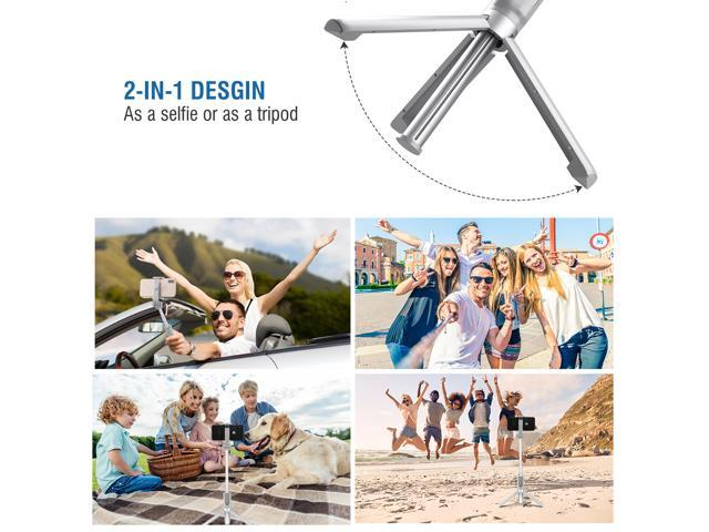 Mpow Bluetooth Selfie Stick, Bluetooth Monopod with Foldable Tripod Stand and Remote Control, Extendable 360° Rotation Phone Holder for iPhone 8/8 Plus/7/7 Plus/Galaxy S8 /S8 Plus/Google Pixel--Grey