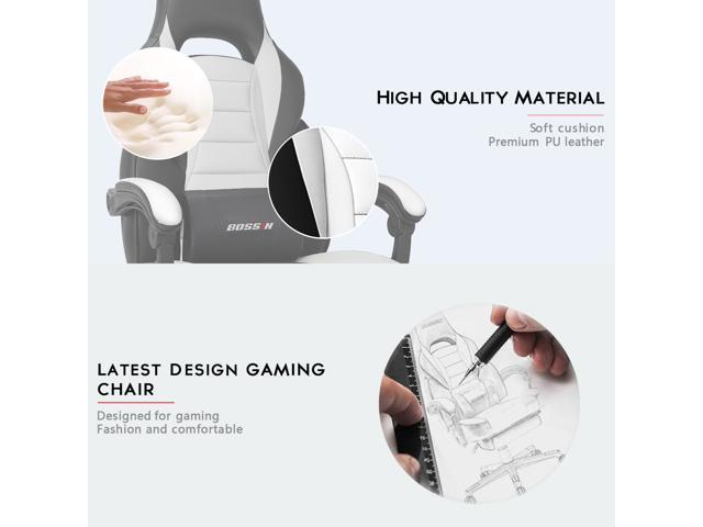 BOSSIN Racing Style Gaming Chair Computer Desk Chair with Footrest and Headrest, Ergonomic Design, Large Size High-Back E-Sports Chair, PU Leather Swivel Office Chair (White)