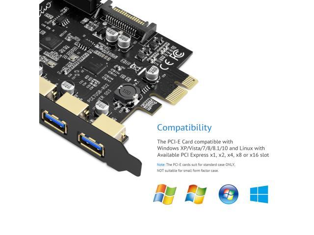 Rivo PCI Express Riser USB 3.0 Card to A+Type-C 4-port PCI Extender Card and 4 Pin Power Connector,PCI-E USB 3.0 Hub Controller Adapter with Interna 19 Pin Connector - Expand Another Two USB 3.0 Ports