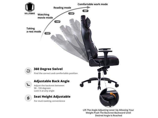 KILLABEE Big and Tall 400lb Memory Foam Gaming Chair - Adjustable Tilt, Back Angle and 3D Arms Ergonomic High-Back Leather Racing Executive Computer Desk Office Chair Metal Base, Black