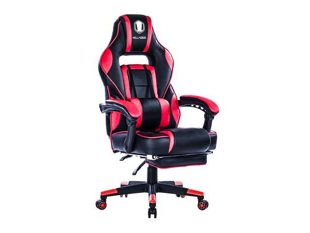 KILLABEE Reclining Memory Foam Racing Gaming Chair - Ergonomic High-Back Racing Computer Desk Office Chair with Retractable Footrest and Adjustable Lumbar Cushion, Gay