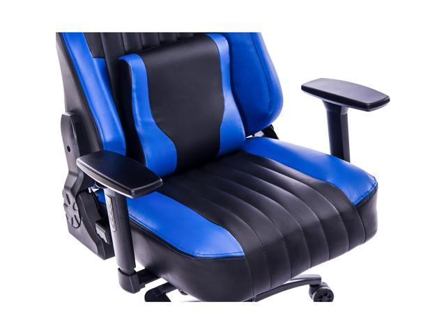 KILLABEE Big and Tall 400lb Memory Foam Gaming Chair - Adjustable Tilt, Back Angle and 3D Arms Ergonomic High-Back Leather Racing Executive Computer Desk Office Chair Metal Base, Blue