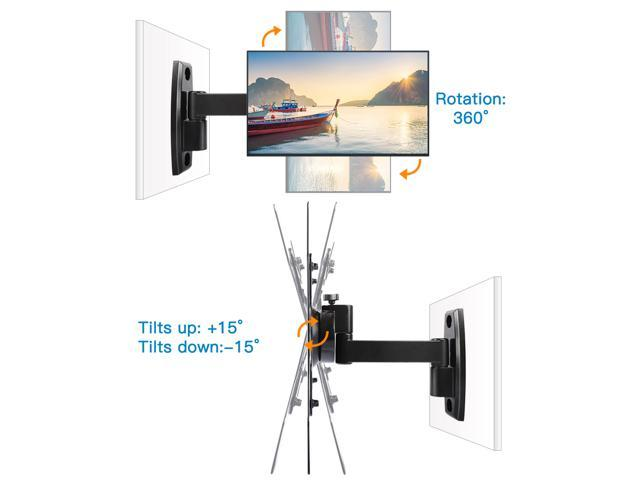 "Wall Mount TV Bracket for 15""-47""TVs with Max VESA 400x300 fits LED, LCD, OLED Flat Screen TVs up to 60lbs - ETVM-29B4E Black"