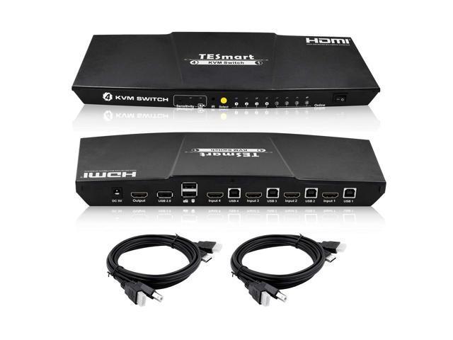 TESmart KVM Switch HDMI 4K 4 Input 1 Output 3840x2160@30Hz, 2 Pcs 5ft KVM Cables, USB 2.0 Control of 4 Computers/Servers/DVR (BLACK)