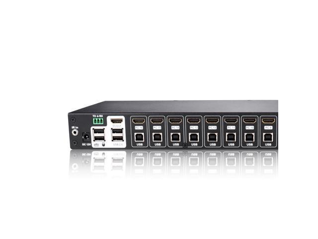 TESmart 16Ports HDMI KVM Switch 4K UHD Switch USB 2.0, 8 Pcs 5ft/1.5m KVM Cable, Console Rack Mount, 16 Port Input, Control of 16 Computers/Servers,RS232,LAN Port