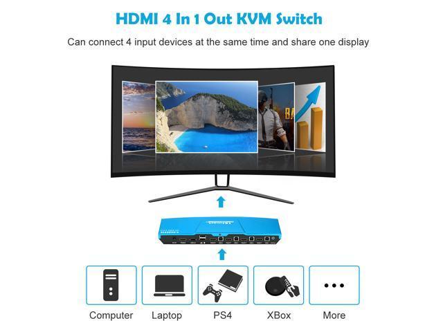 TESmart 4x1 HDMI KVM Switch 4K 3840x2160@60Hz 4:4:4 with 2 pcs 5ft KVM Cables USB 2.0 Control of 4 Computers/ Servers/ DVR (Blue) US Standard Plug