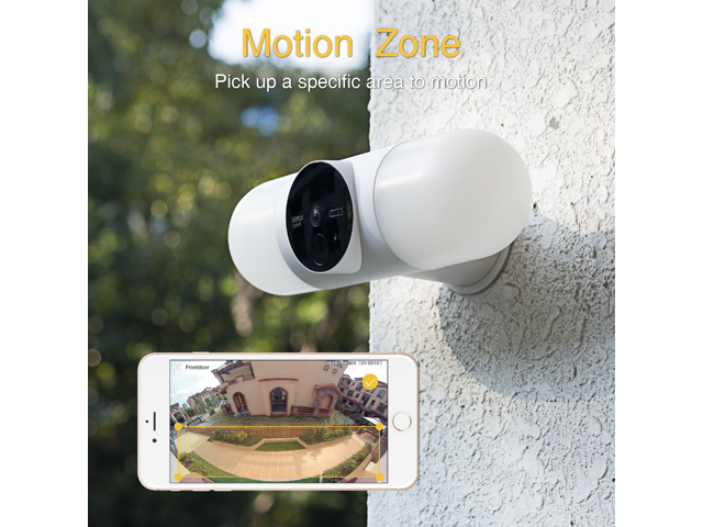 Litmor Home Security Floodlight Camera, Motion-Activated Floodlight with Two-Way Talk and Siren Alarm, 180° Camera View, 2K resolution, Color Night Vision, White