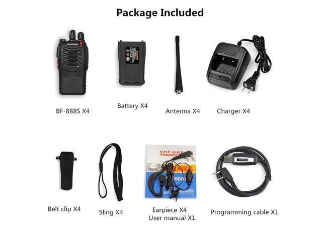 BaoFeng BF-888s Walkie Talkies Two Way Radios (1500mAh Rechargeable Battery, 3 Miles Long Range, LED Flashlight, 1 USB Programming Cable, 1 Earphone)