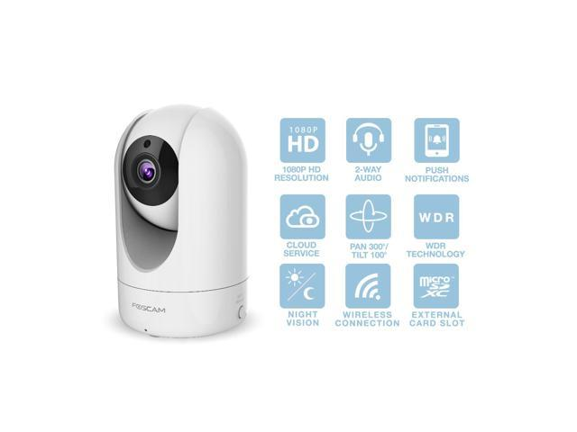 Foscam Home Security Camera, R2 Full HD 1080P WiFi IP Camera with Real-time 1080P Video at 25FPS, Pan Tilt 8X Digital Zoom, Motion Detection & Alert, Optional Cloud Service Available, Rubber White