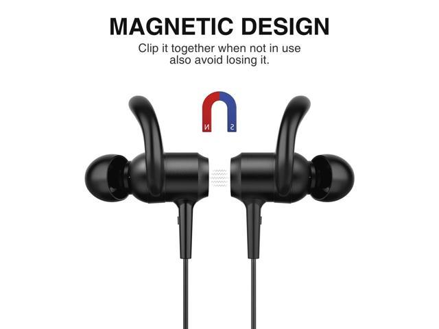 Picun Bluetooth Headphones 10 Hrs Battery, HiFi Stereo Wireless Sports Earphones with Noise Reduction Mic, IPX6 Waterproof Nano-Coating Magnetic Earbuds Secure Fit for Running Gym Workout(Black)