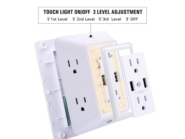 POWRUI 6-Outlet Surge Protector with 2 USB Charging Ports (Total 2.4A) and Smart Sensor Night Light - 3-Sided Power Strip USB Wall Charger Outlet Extender - 1680 Joules - White, ETL Certified
